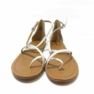 Express Womens Flat Sandals White Toe Ring Strappy